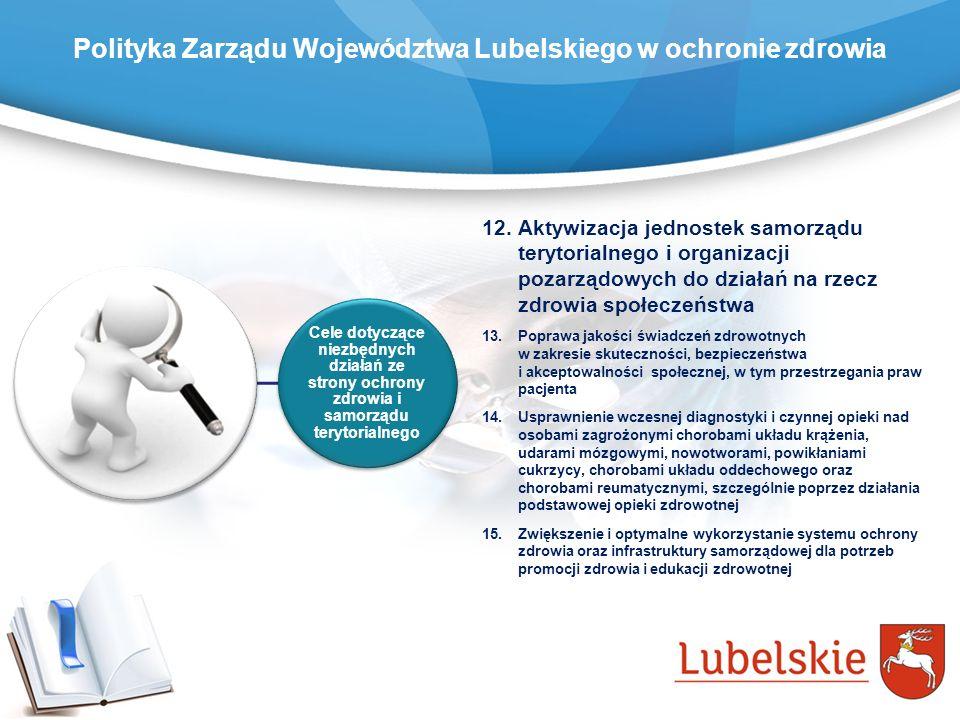 Polityka Zarządu Województwa Lubelskiego w ochronie zdrowia Cele dotyczące niezbędnych działań ze strony ochrony zdrowia i samorządu terytorialnego 12