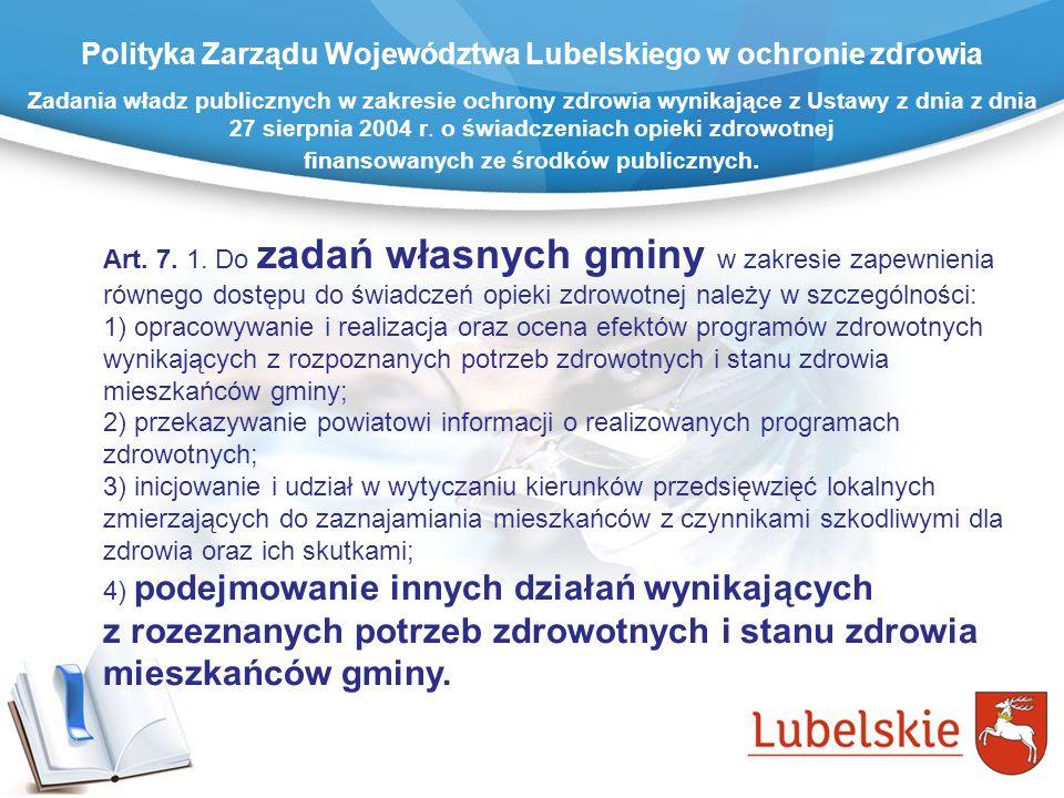 Zadania władz publicznych w zakresie ochrony zdrowia wynikające z Ustawy z dnia z dnia 27 sierpnia 2004 r. o świadczeniach opieki zdrowotnej finansowa