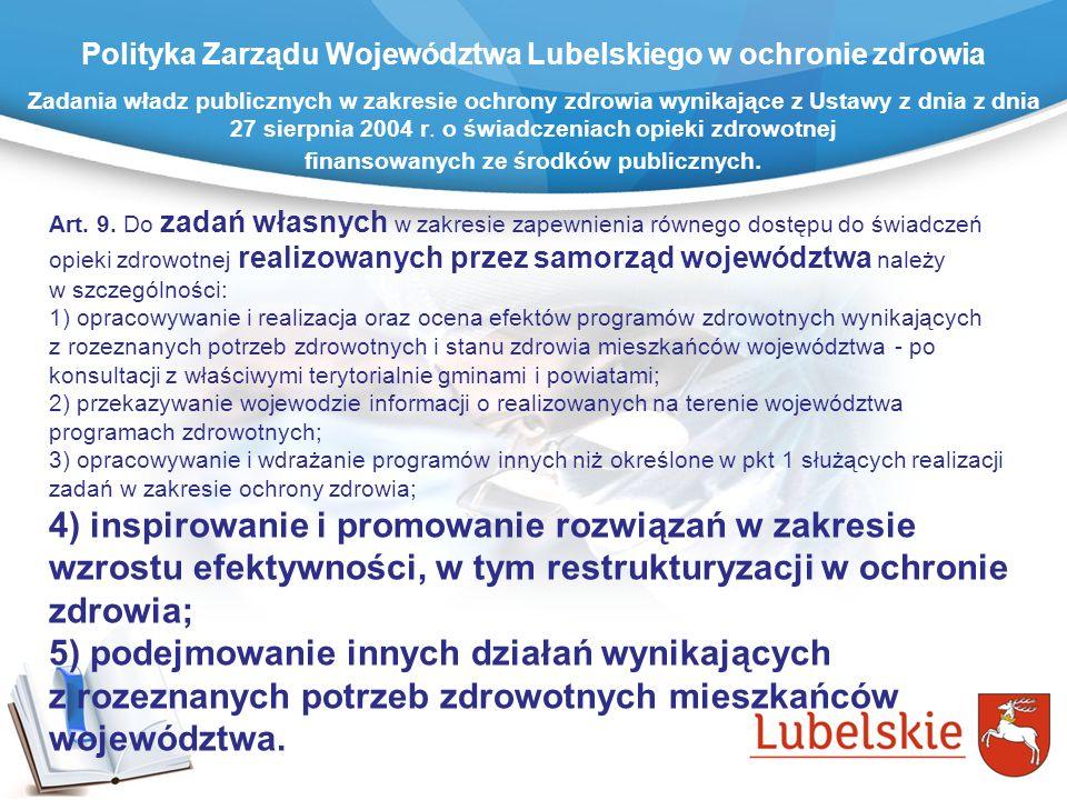 Polityka Zarządu Województwa Lubelskiego w ochronie zdrowia Zadania władz publicznych w zakresie ochrony zdrowia wynikające z Ustawy z dnia z dnia 27