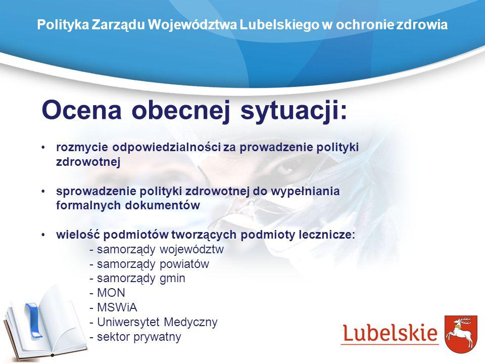 Ocena obecnej sytuacji: rozmycie odpowiedzialności za prowadzenie polityki zdrowotnej sprowadzenie polityki zdrowotnej do wypełniania formalnych dokum