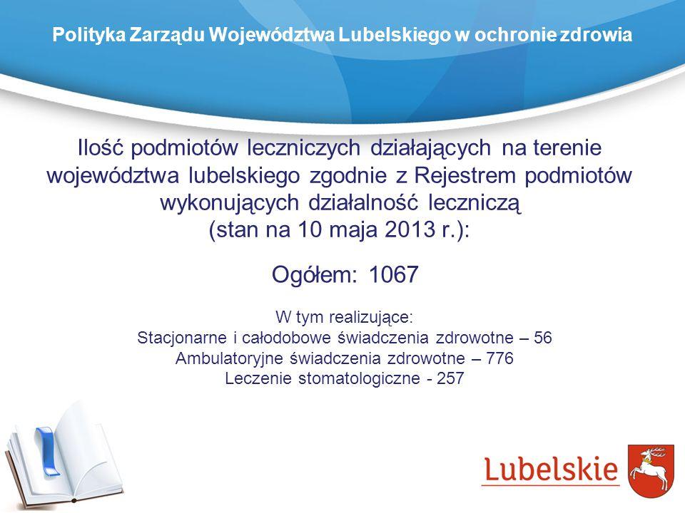 Ilość podmiotów leczniczych działających na terenie województwa lubelskiego zgodnie z Rejestrem podmiotów wykonujących działalność leczniczą (stan na