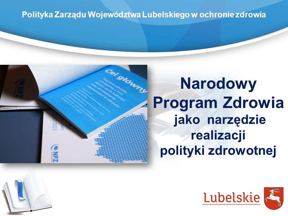 Polityka Zarządu Województwa Lubelskiego w ochronie zdrowia Rozwój gospodarczy i społeczny społeczeństwa jest uwarunkowany zdrowiem społeczeństwa.