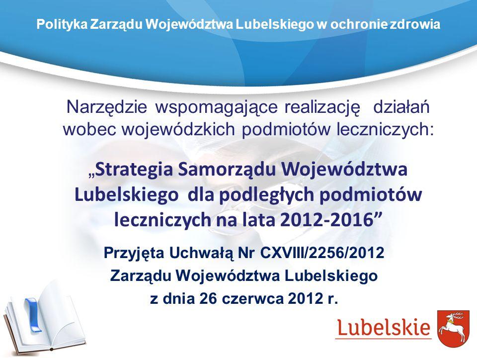 Polityka Zarządu Województwa Lubelskiego w ochronie zdrowia Narzędzie wspomagające realizację działań wobec wojewódzkich podmiotów leczniczych: Strate
