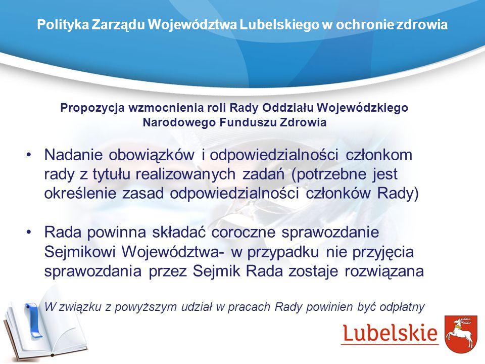 Propozycja wzmocnienia roli Rady Oddziału Wojewódzkiego Narodowego Funduszu Zdrowia Nadanie obowiązków i odpowiedzialności członkom rady z tytułu real
