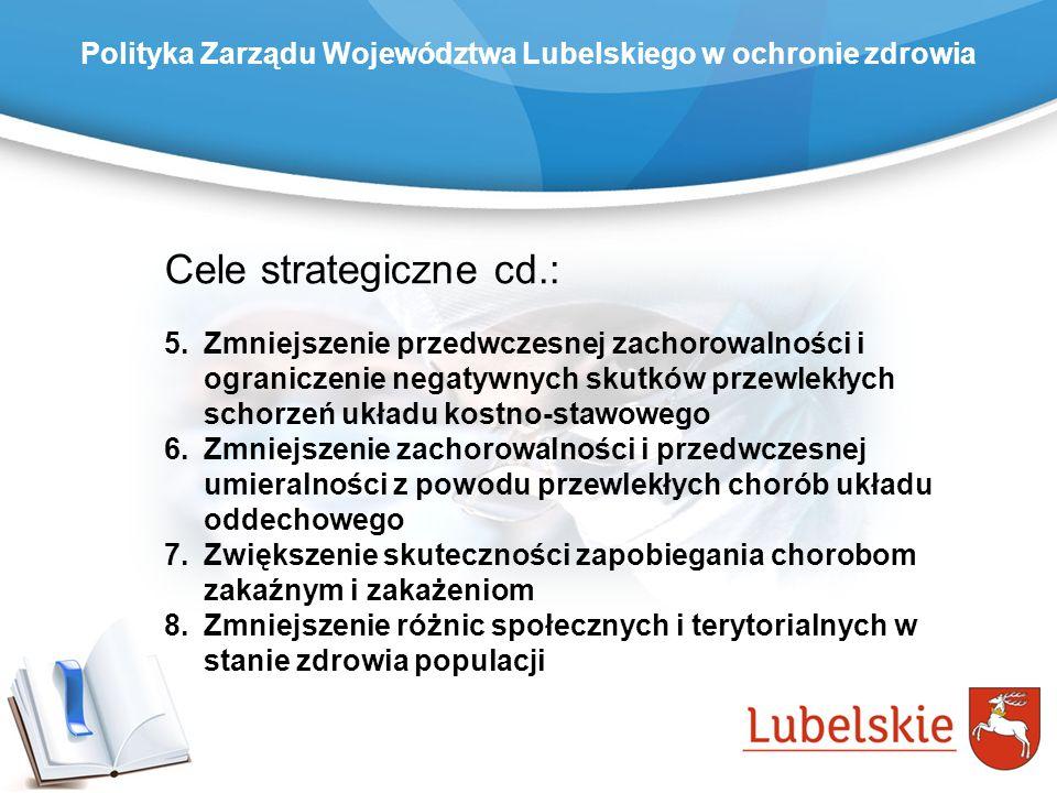 Polityka Zarządu Województwa Lubelskiego w ochronie zdrowia Cele strategiczne cd.: 5.Zmniejszenie przedwczesnej zachorowalności i ograniczenie negatyw