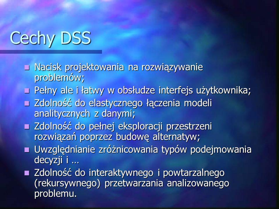 Cechy DSS Nacisk projektowania na rozwiązywanie problemów; Nacisk projektowania na rozwiązywanie problemów; Pełny ale i łatwy w obsłudze interfejs uży