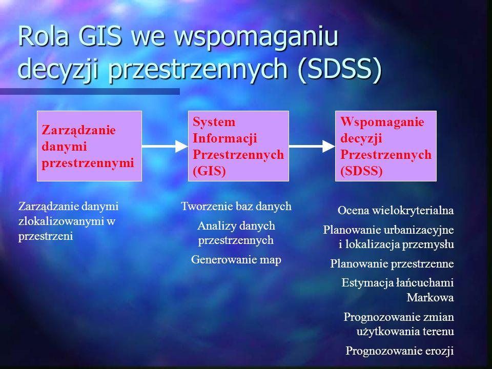Rola GIS we wspomaganiu decyzji przestrzennych (SDSS) Zarządzanie danymi przestrzennymi System Informacji Przestrzennych (GIS) Wspomaganie decyzji Prz