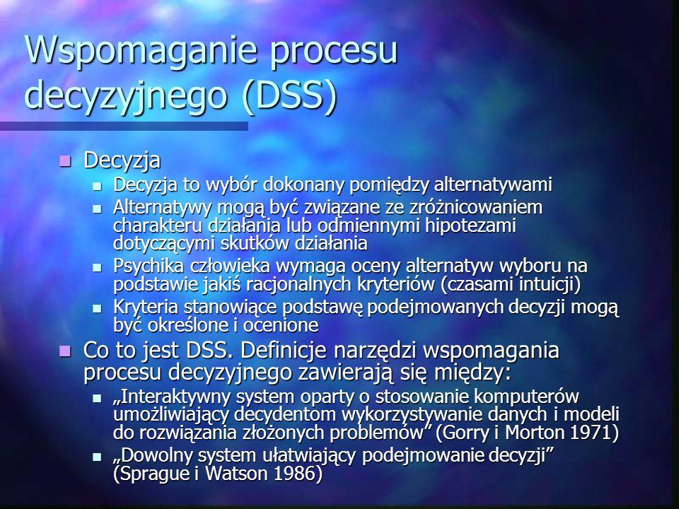 Wspomaganie procesu decyzyjnego (DSS) Decyzja Decyzja Decyzja to wybór dokonany pomiędzy alternatywami Decyzja to wybór dokonany pomiędzy alternatywam