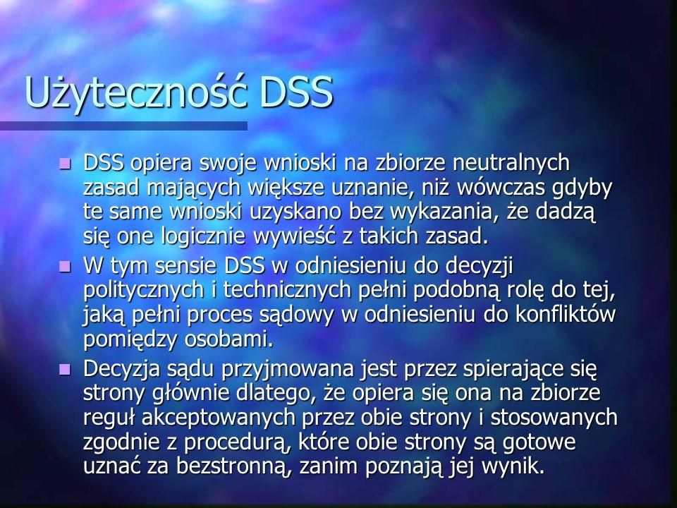 Użyteczność DSS DSS opiera swoje wnioski na zbiorze neutralnych zasad mających większe uznanie, niż wówczas gdyby te same wnioski uzyskano bez wykazan
