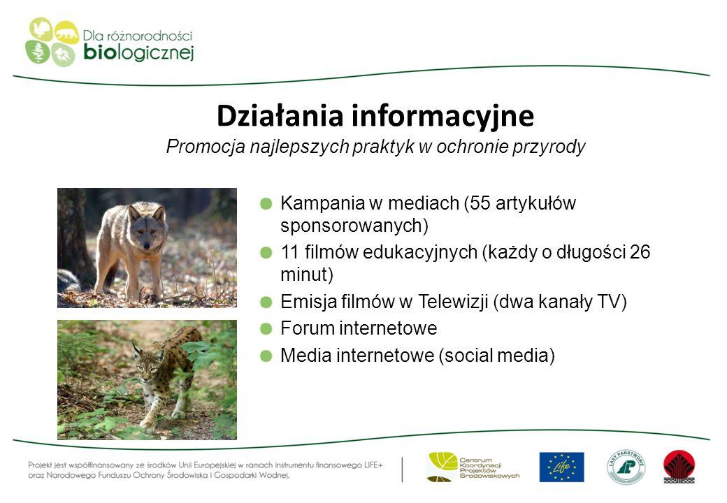 Działania informacyjne Promocja najlepszych praktyk w ochronie przyrody Kampania w mediach (55 artykułów sponsorowanych) 11 filmów edukacyjnych (każdy