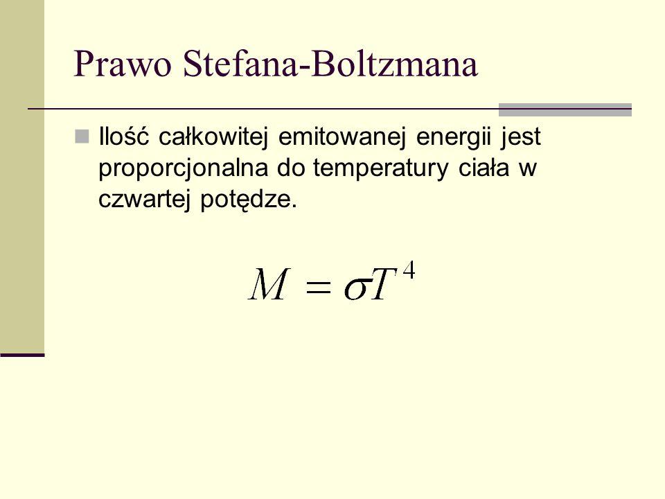 Prawo Stefana-Boltzmana Ilość całkowitej emitowanej energii jest proporcjonalna do temperatury ciała w czwartej potędze.
