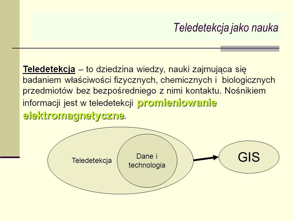 Teledetekcja jako nauka Teledetekcja promieniowanie elektromagnetyczne Teledetekcja – to dziedzina wiedzy, nauki zajmująca się badaniem właściwości fi