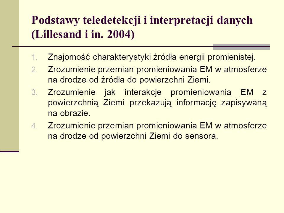 Podstawy teledetekcji i interpretacji danych (Lillesand i in. 2004) 1. Znajomość charakterystyki źródła energii promienistej. 2. Zrozumienie przemian