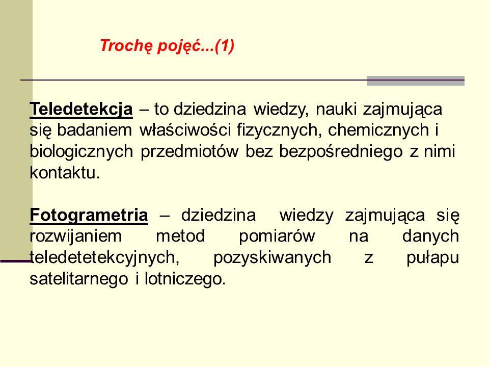 Trochę pojęć...(1) Teledetekcja Teledetekcja – to dziedzina wiedzy, nauki zajmująca się badaniem właściwości fizycznych, chemicznych i biologicznych p