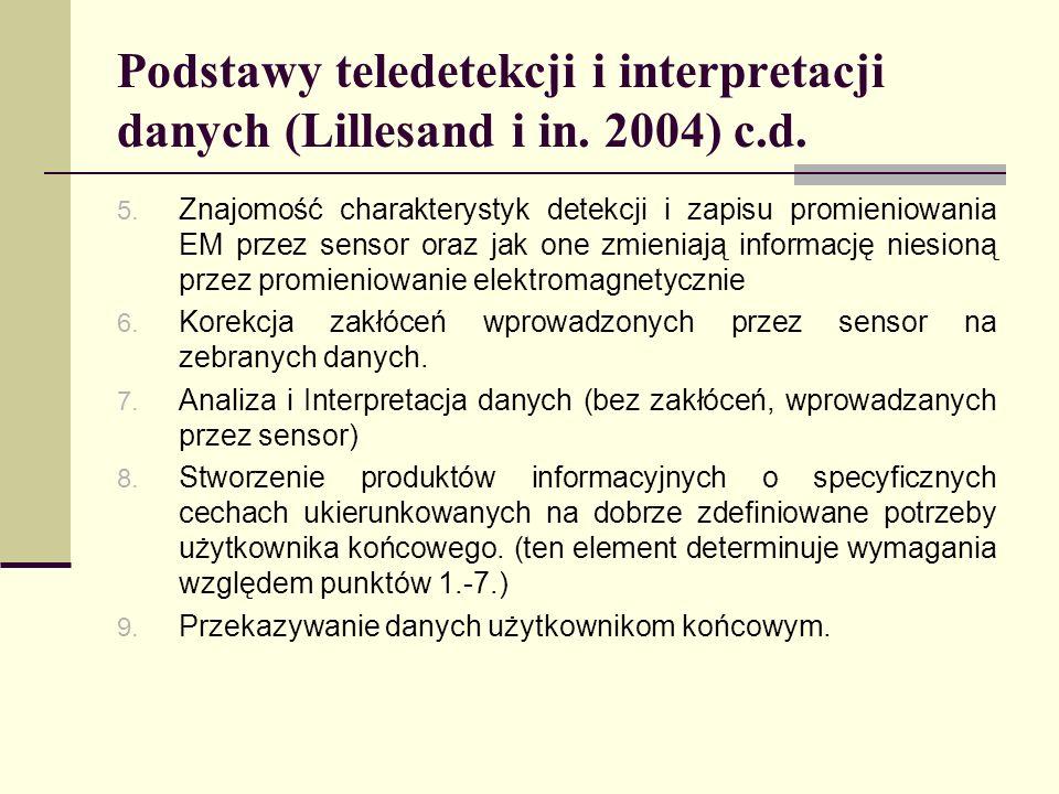 Podstawy teledetekcji i interpretacji danych (Lillesand i in. 2004) c.d. 5. Znajomość charakterystyk detekcji i zapisu promieniowania EM przez sensor