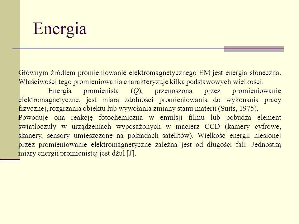 Energia Głównym źródłem promieniowanie elektromagnetycznego EM jest energia słoneczna. Właściwości tego promieniowania charakteryzuje kilka podstawowy