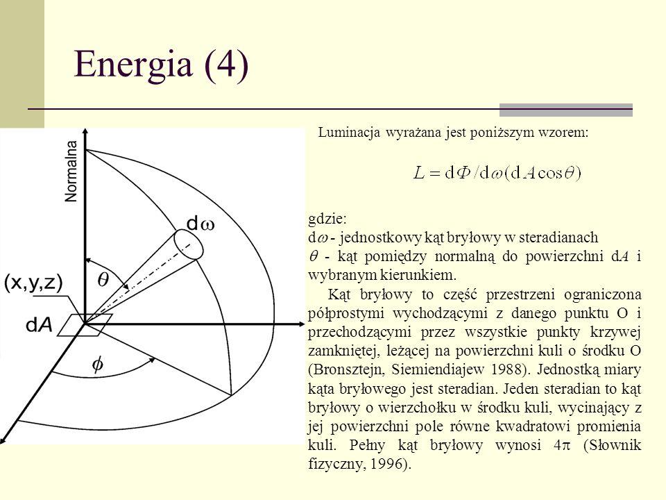 Energia (4) Luminacja wyrażana jest poniższym wzorem: gdzie: d - jednostkowy kąt bryłowy w steradianach - kąt pomiędzy normalną do powierzchni dA i wy