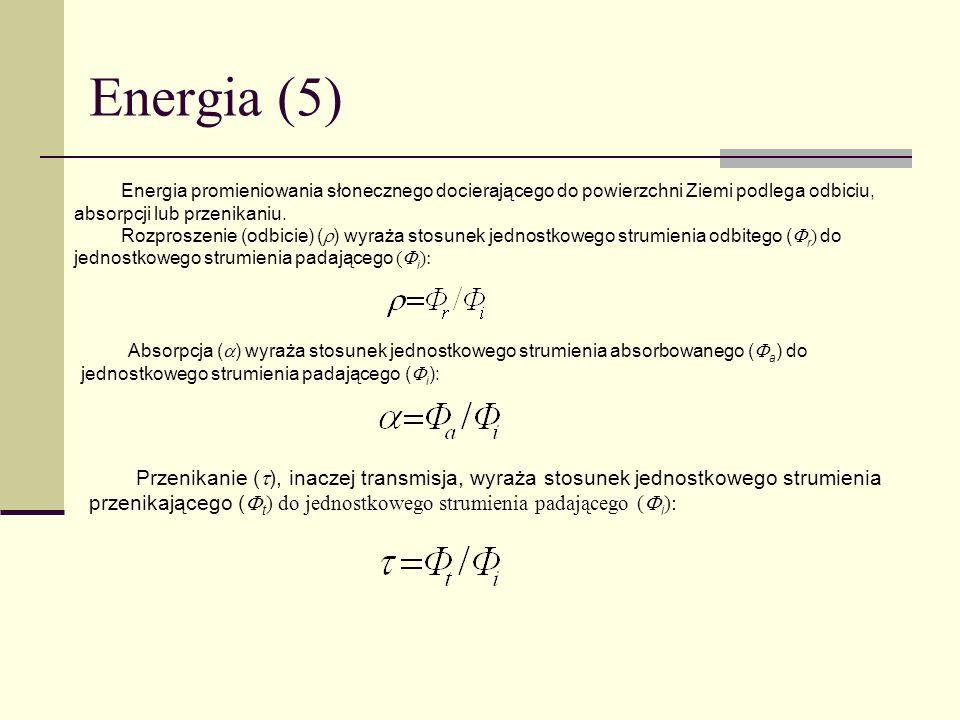 Energia (5) Energia promieniowania słonecznego docierającego do powierzchni Ziemi podlega odbiciu, absorpcji lub przenikaniu. Rozproszenie (odbicie) (