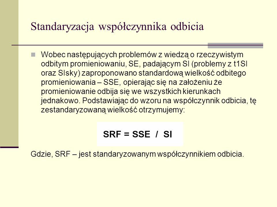 Standaryzacja współczynnika odbicia Wobec następujących problemów z wiedzą o rzeczywistym odbitym promieniowaniu, SE, padającym SI (problemy z t1SI or