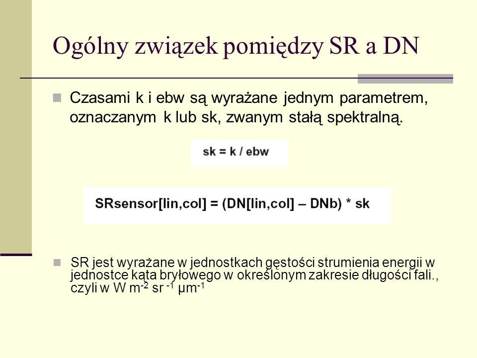 Ogólny związek pomiędzy SR a DN Czasami k i ebw są wyrażane jednym parametrem, oznaczanym k lub sk, zwanym stałą spektralną. SR jest wyrażane w jednos