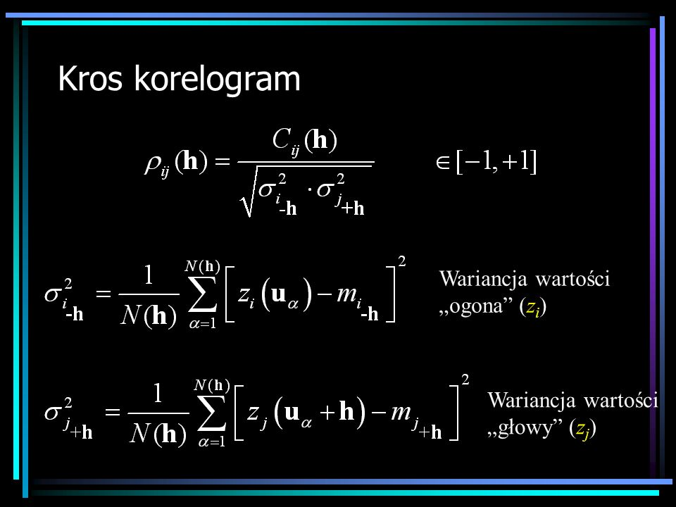 Kros korelogram Wariancja wartości ogona (z i ) Wariancja wartości głowy (z j )