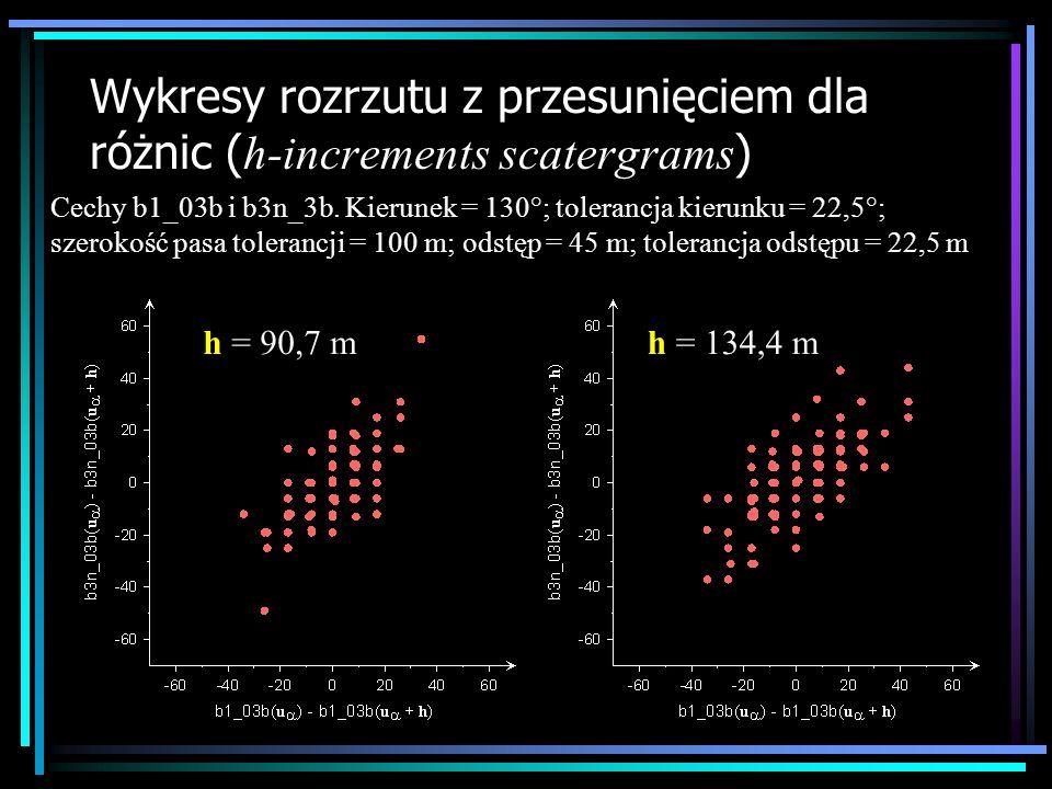 Wykresy rozrzutu z przesunięciem dla różnic ( h-increments scatergrams ) Cechy b1_03b i b3n_3b. Kierunek = 130°; tolerancja kierunku = 22,5°; szerokoś