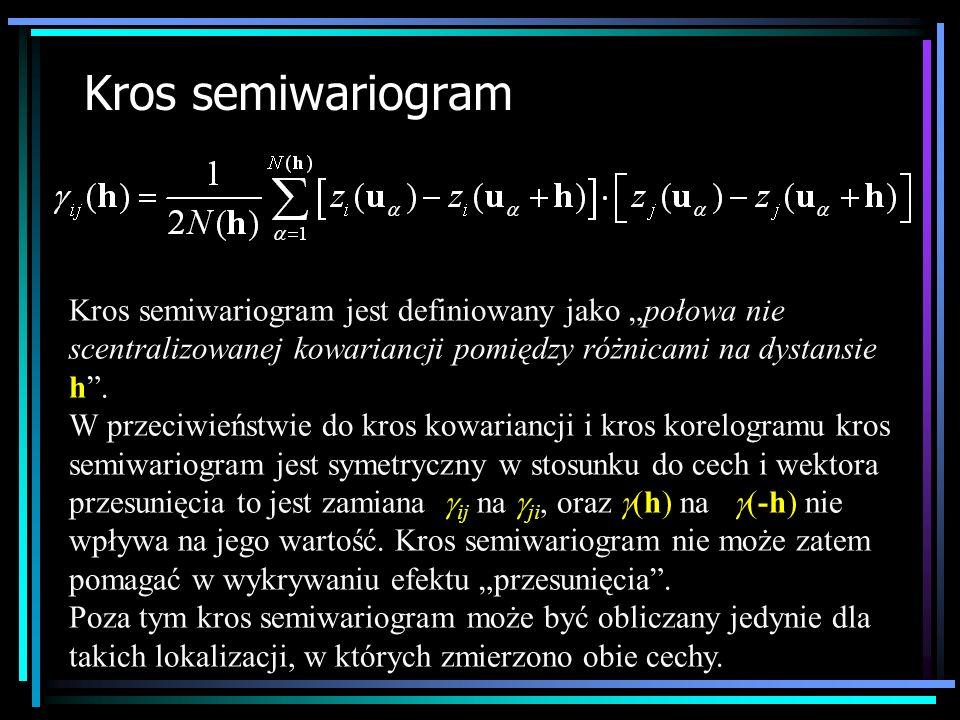 Kros semiwariogram Kros semiwariogram jest definiowany jako połowa nie scentralizowanej kowariancji pomiędzy różnicami na dystansie h. W przeciwieństw