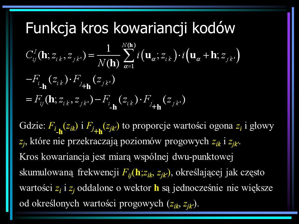 Funkcja kros kowariancji kodów Gdzie: F i -h (z ik ) i F j +h (z jk' ) to proporcje wartości ogona z i i głowy z j, które nie przekraczają poziomów pr