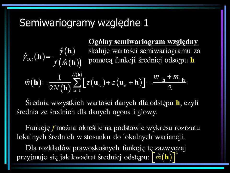 Semiwariogramy względne 1 Ogólny semiwariogram względny skaluje wartości semiwariogramu za pomocą funkcji średniej odstępu h Średnia wszystkich wartoś