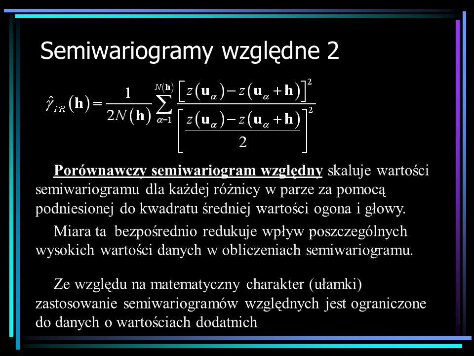 Semiwariogramy względne 2 Porównawczy semiwariogram względny skaluje wartości semiwariogramu dla każdej różnicy w parze za pomocą podniesionej do kwad