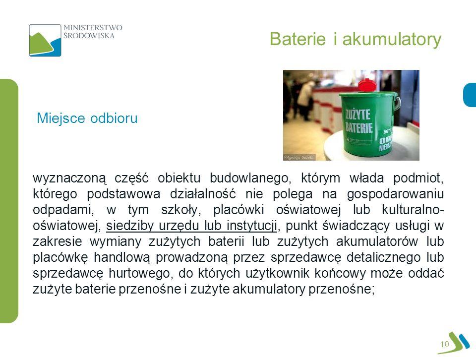 Baterie i akumulatory wyznaczoną część obiektu budowlanego, którym włada podmiot, którego podstawowa działalność nie polega na gospodarowaniu odpadami