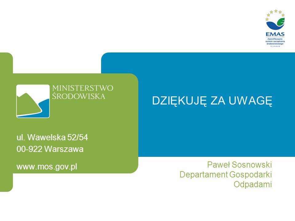 DZIĘKUJĘ ZA UWAGĘ Paweł Sosnowski Departament Gospodarki Odpadami ul. Wawelska 52/54 00-922 Warszawa www.mos.gov.pl
