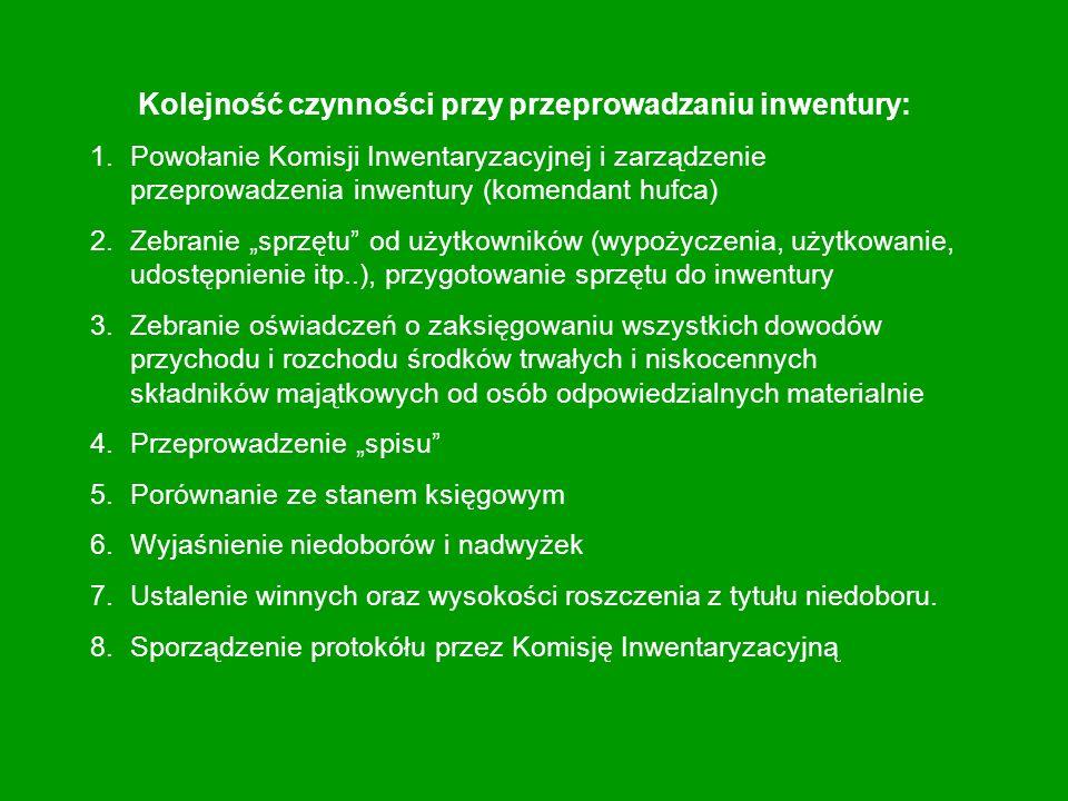 Kolejność czynności przy przeprowadzaniu inwentury: 1.Powołanie Komisji Inwentaryzacyjnej i zarządzenie przeprowadzenia inwentury (komendant hufca) 2.Zebranie sprzętu od użytkowników (wypożyczenia, użytkowanie, udostępnienie itp..), przygotowanie sprzętu do inwentury 3.Zebranie oświadczeń o zaksięgowaniu wszystkich dowodów przychodu i rozchodu środków trwałych i niskocennych składników majątkowych od osób odpowiedzialnych materialnie 4.Przeprowadzenie spisu 5.Porównanie ze stanem księgowym 6.Wyjaśnienie niedoborów i nadwyżek 7.Ustalenie winnych oraz wysokości roszczenia z tytułu niedoboru.
