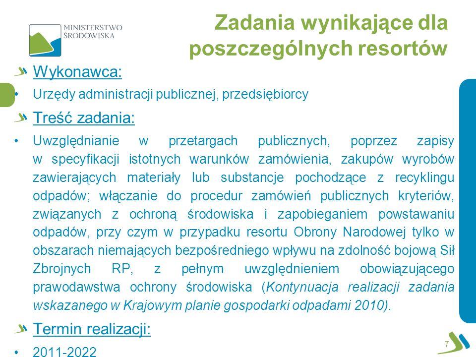 Zadania wynikające dla poszczególnych resortów Wykonawca: Urzędy administracji publicznej, przedsiębiorcy Treść zadania: Uwzględnianie w przetargach p