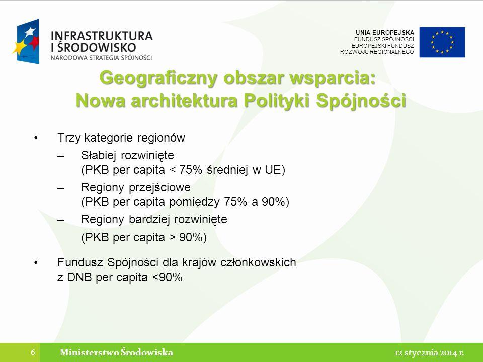 UNIA EUROPEJSKA FUNDUSZ SPÓJNOŚCI EUROPEJSKI FUNDUSZ ROZWOJU REGIONALNEGO Trzy kategorie regionów –Słabiej rozwinięte (PKB per capita < 75% średniej w UE) –Regiony przejściowe (PKB per capita pomiędzy 75% a 90%) –Regiony bardziej rozwinięte (PKB per capita > 90%) Fundusz Spójności dla krajów członkowskich z DNB per capita <90% 6 Ministerstwo Środowiska Geograficzny obszar wsparcia: Nowa architektura Polityki Spójności 12 stycznia 2014 r.
