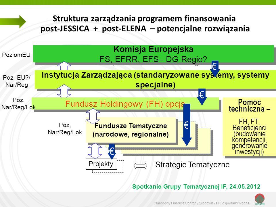 Narodowy Fundusz Ochrony Środowiska i Gospodarki Wodnej Zintegrowane Strategie – obszary interwencji IF Fundusze ogólnokrajowe tworzone na krajowych Programach Operacyjnych Potencjalny obszar interwencji IF Dowolny zakres tematyczny Funduszu – zgodność z priorytetami wydatkowymi z funduszy strukturalnych i zasadą ring-fencing Konieczność stworzenia odpowiednich strategii rozwojowych (np.