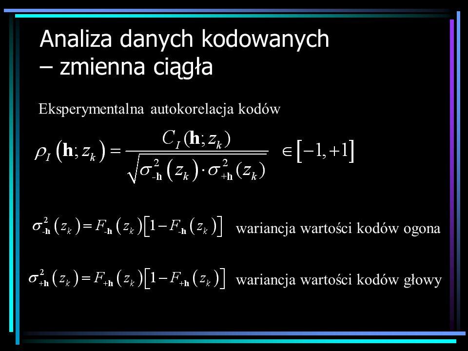 Analiza danych kodowanych – zmienna ciągła Eksperymentalny semiwariogram kodów Wariogram kodów ( 2 I (h; z k ) ) określa jak często dwie wartości cechy oddalone o wektor h znajdują się po przeciwnych stronach wartości progowej z k.