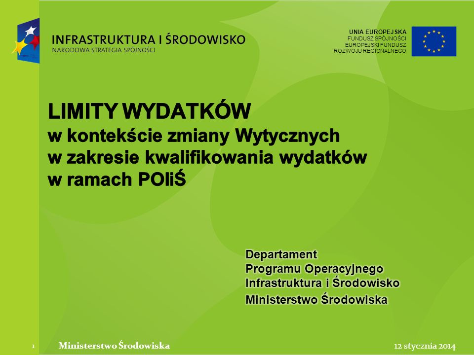 UNIA EUROPEJSKA FUNDUSZ SPÓJNOŚCI EUROPEJSKI FUNDUSZ ROZWOJU REGIONALNEGO UNIA EUROPEJSKA FUNDUSZ SPÓJNOŚCI EUROPEJSKI FUNDUSZ ROZWOJU REGIONALNEGO 12 stycznia 2014Ministerstwo Środowiska 2