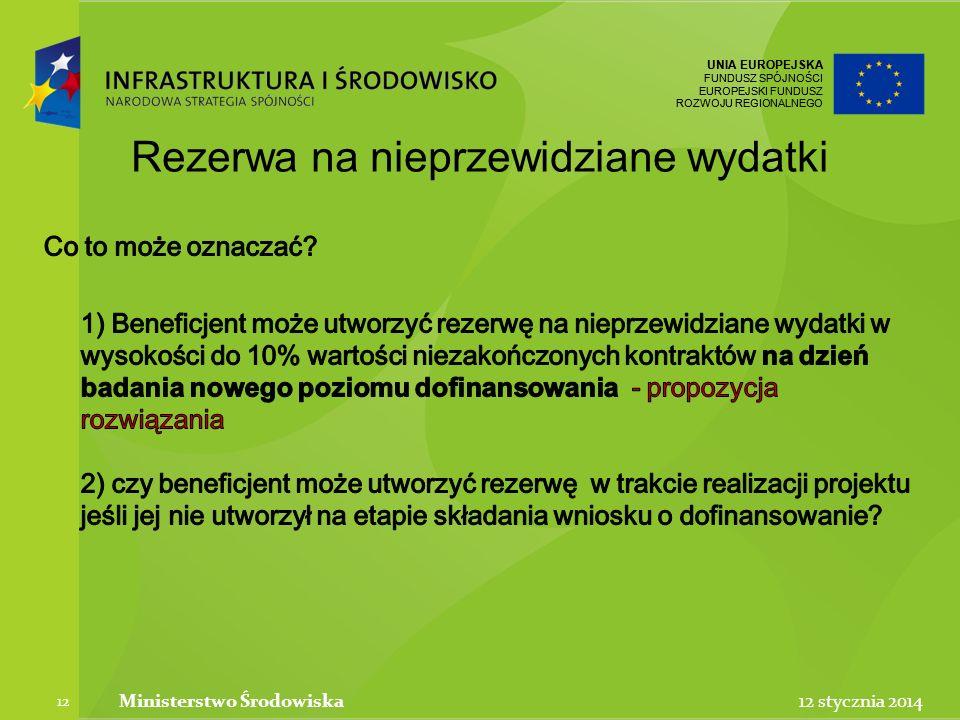 UNIA EUROPEJSKA FUNDUSZ SPÓJNOŚCI EUROPEJSKI FUNDUSZ ROZWOJU REGIONALNEGO UNIA EUROPEJSKA FUNDUSZ SPÓJNOŚCI EUROPEJSKI FUNDUSZ ROZWOJU REGIONALNEGO 12 stycznia 2014Ministerstwo Środowiska 12 Rezerwa na nieprzewidziane wydatki