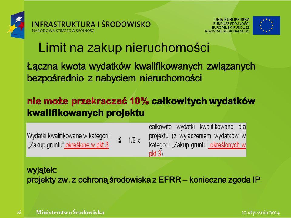 UNIA EUROPEJSKA FUNDUSZ SPÓJNOŚCI EUROPEJSKI FUNDUSZ ROZWOJU REGIONALNEGO UNIA EUROPEJSKA FUNDUSZ SPÓJNOŚCI EUROPEJSKI FUNDUSZ ROZWOJU REGIONALNEGO 12 stycznia 2014Ministerstwo Środowiska 16 Limit na zakup nieruchomości