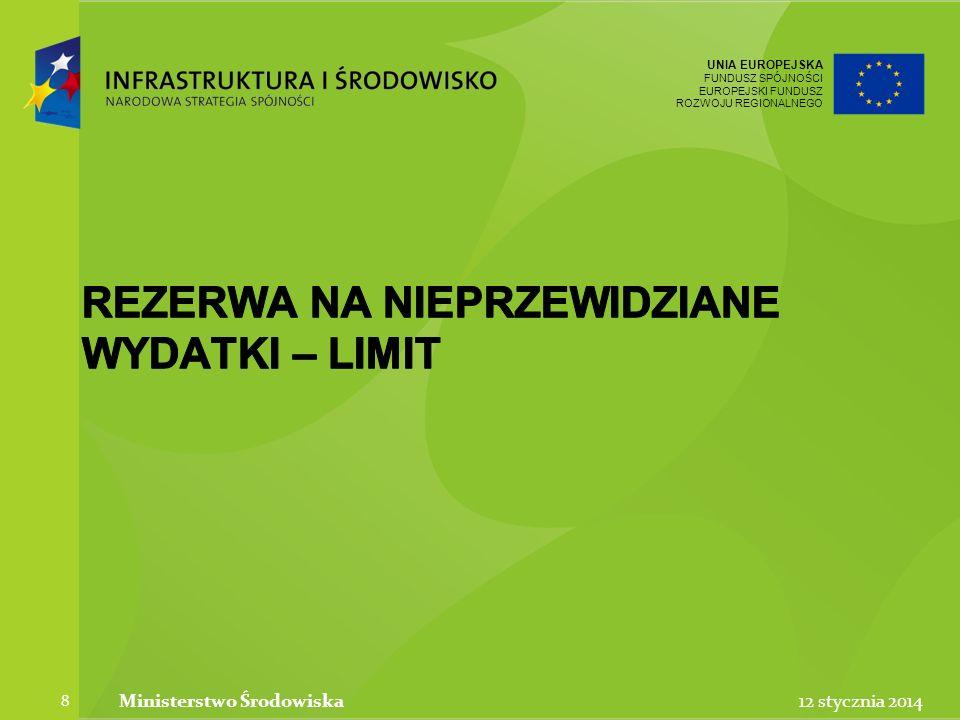 UNIA EUROPEJSKA FUNDUSZ SPÓJNOŚCI EUROPEJSKI FUNDUSZ ROZWOJU REGIONALNEGO UNIA EUROPEJSKA FUNDUSZ SPÓJNOŚCI EUROPEJSKI FUNDUSZ ROZWOJU REGIONALNEGO 12 stycznia 2014Ministerstwo Środowiska 19 Limit na wkład niepieniężny
