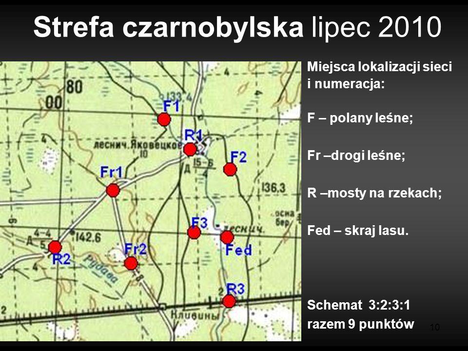 10 Strefa czarnobylska lipec 2010 Miejsca lokalizacji sieci i numeracja: F – polany leśne; Fr –drogi leśne; R –mosty na rzekach; Fed – skraj lasu. Sch