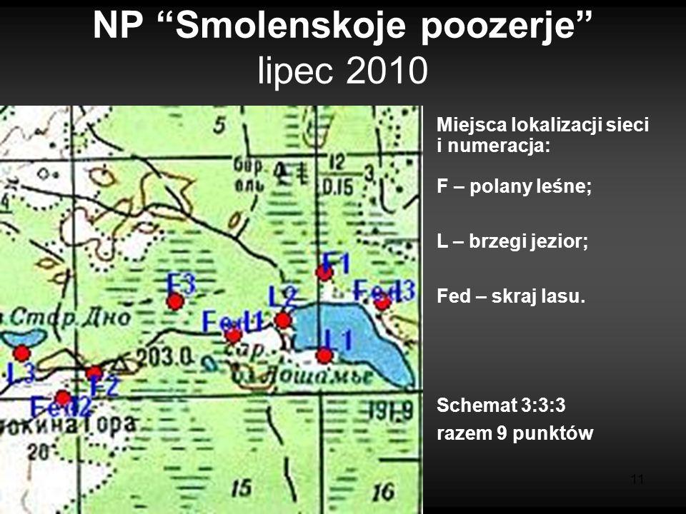 11 NP Smolenskoje poozerje lipec 2010 Miejsca lokalizacji sieci i numeracja: F – polany leśne; L – brzegi jezior; Fed – skraj lasu.