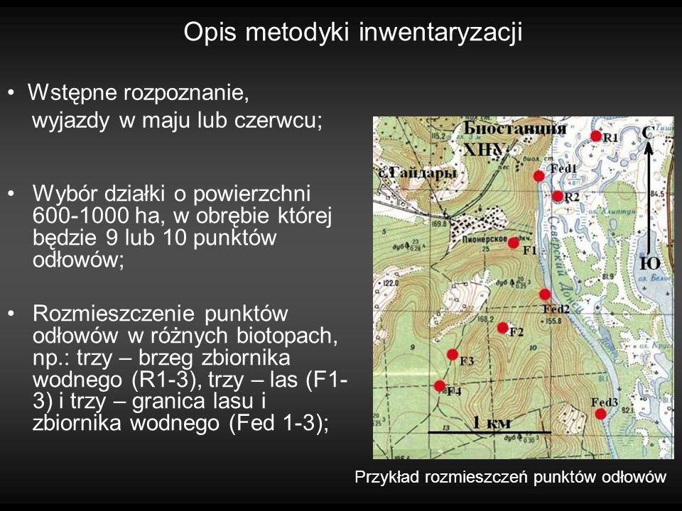 5 Opis metodyki inwentaryzacji Wybór działki o powierzchni 600-1000 ha, w obrębie której będzie 9 lub 10 punktów odłowów; Rozmieszczenie punktów odłowów w różnych biotopach, np.: trzy – brzeg zbiornika wodnego (R1-3), trzy – las (F1- 3) i trzy – granica lasu i zbiornika wodnego (Fed 1-3); Przykład rozmieszczeń punktów odłowów Wstępne rozpoznanie, wyjazdy w maju lub czerwcu;