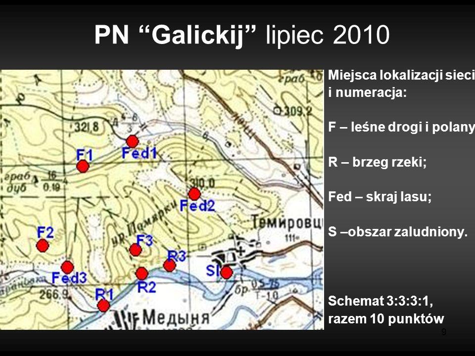 9 PN Galickij lipiec 2010 Miejsca lokalizacji sieci i numeracja: F – leśne drogi i polany; R – brzeg rzeki; Fed – skraj lasu; S –obszar zaludniony.