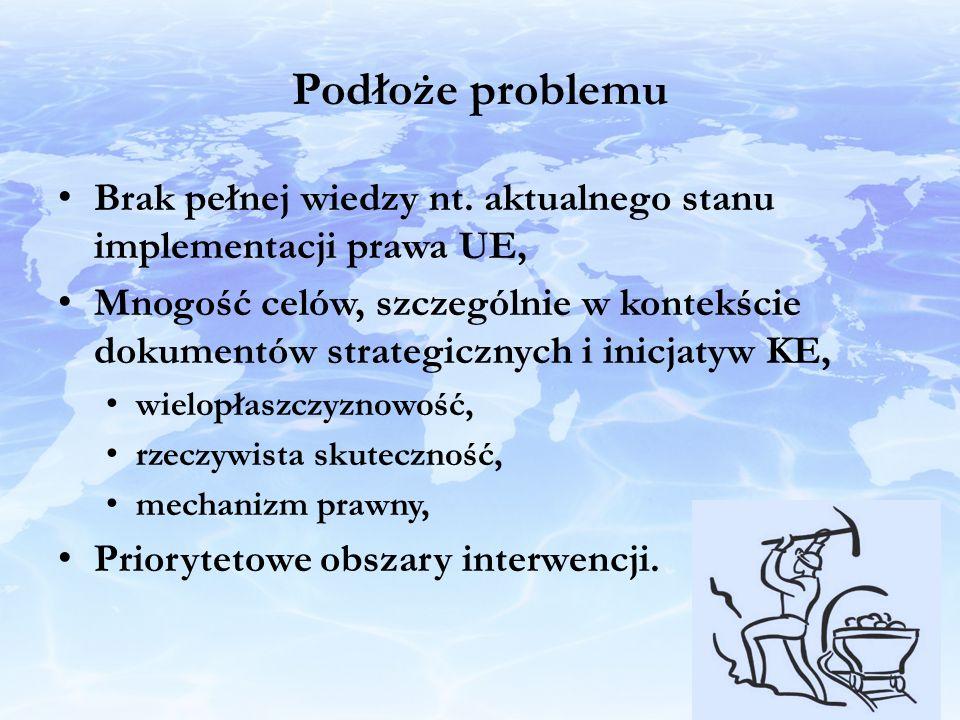Podłoże problemu Brak pełnej wiedzy nt. aktualnego stanu implementacji prawa UE, Mnogość celów, szczególnie w kontekście dokumentów strategicznych i i
