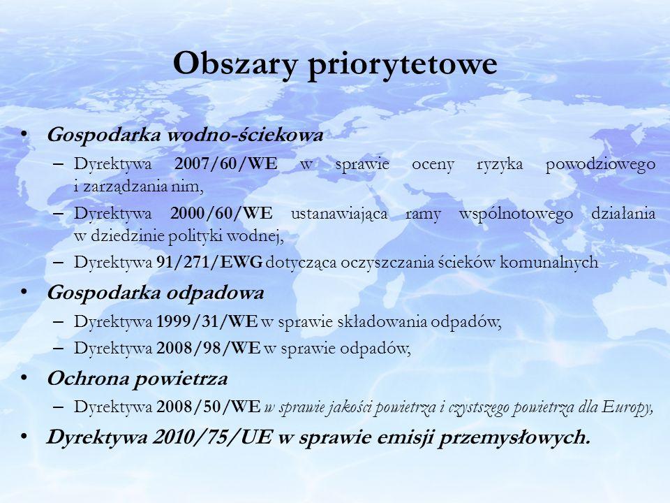 Obszary priorytetowe Gospodarka wodno-ściekowa – Dyrektywa 2007/60/WE w sprawie oceny ryzyka powodziowego i zarządzania nim, – Dyrektywa 2000/60/WE us