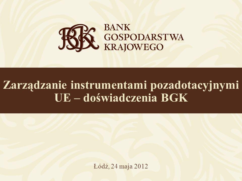 Zarządzanie instrumentami pozadotacyjnymi UE – doświadczenia BGK Łódź, 24 maja 2012
