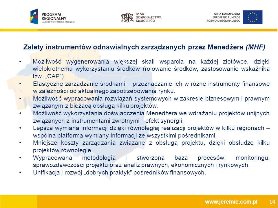 Zalety instrumentów odnawialnych zarządzanych przez Menedżera (MHF) Możliwość wygenerowania większej skali wsparcia na każdej złotówce, dzięki wielokrotnemu wykorzystaniu środków (rolowanie środków, zastosowanie wskaźnika tzw.
