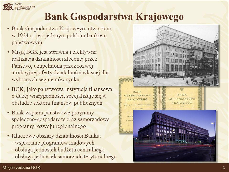 2 Bank Gospodarstwa Krajowego Misja i zadania BGK Bank Gospodarstwa Krajowego, utworzony w 1924 r., jest jedynym polskim bankiem państwowym Misją BGK jest sprawna i efektywna realizacja działalności zleconej przez Państwo, uzupełniona przez rozwój atrakcyjnej oferty działalności własnej dla wybranych segmentów rynku BGK, jako państwowa instytucja finansowa o dużej wiarygodności, specjalizuje się w obsłudze sektora finansów publicznych Bank wspiera państwowe programy społeczno-gospodarcze oraz samorządowe programy rozwoju regionalnego Kluczowe obszary działalności Banku: - wspieranie programów rządowych - obsługa jednostek budżetu centralnego - obsługa jednostek samorządu terytorialnego
